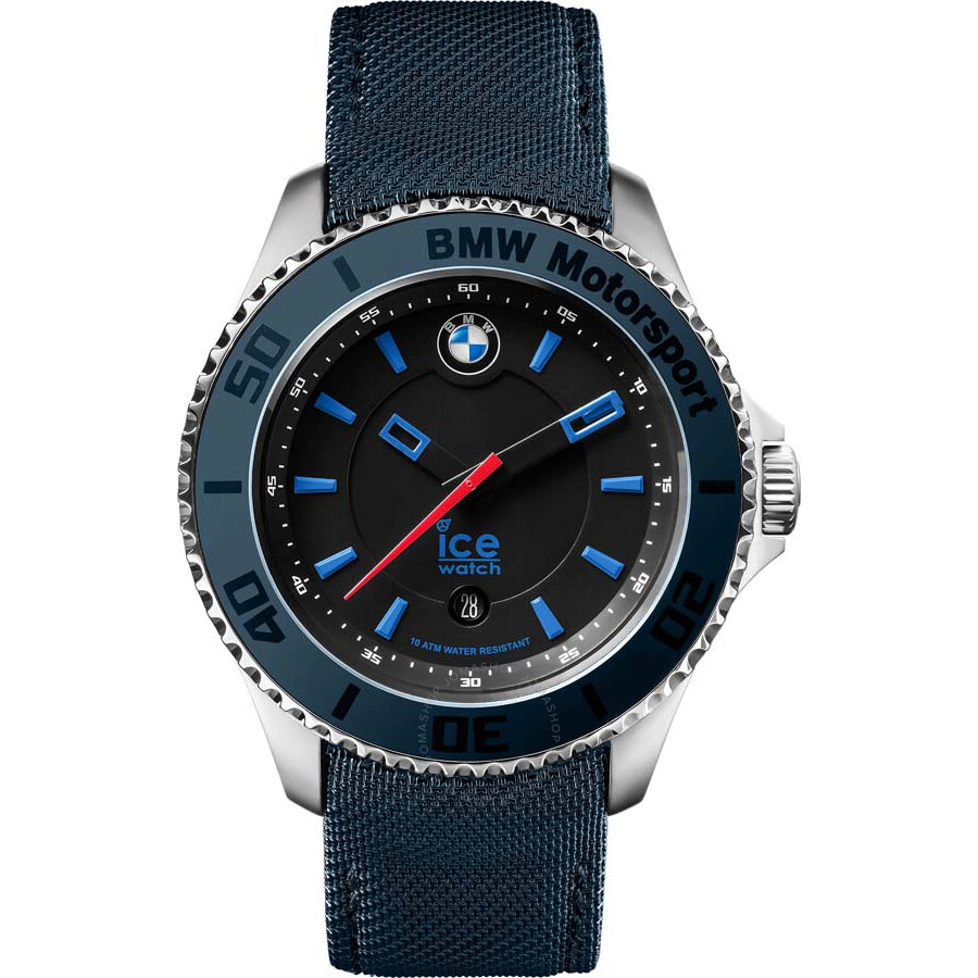 ice watch bmw motorsport black dial blue leather men 39 s 43. Black Bedroom Furniture Sets. Home Design Ideas