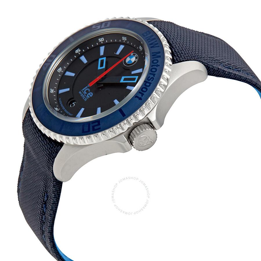 ice watch bmw motorsport black dial blue leather men 39 s 43. Black Bedroom Furniture Sets. Home Design Ideas