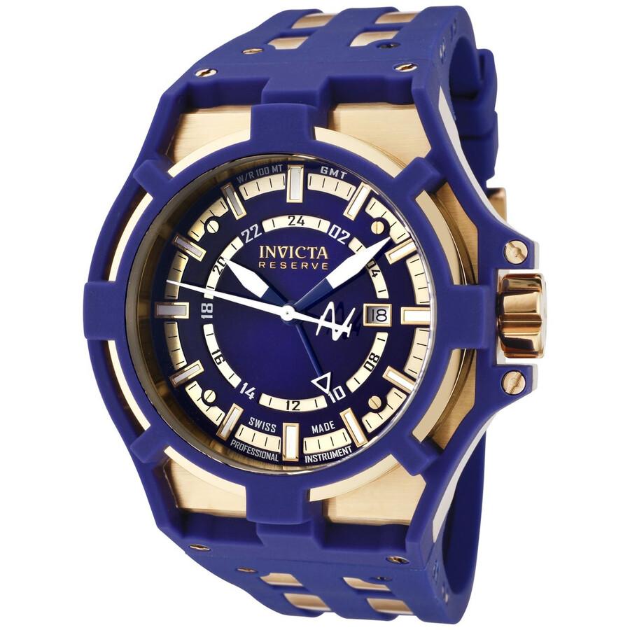 invicta akula gold tone and blue rubber s 0629