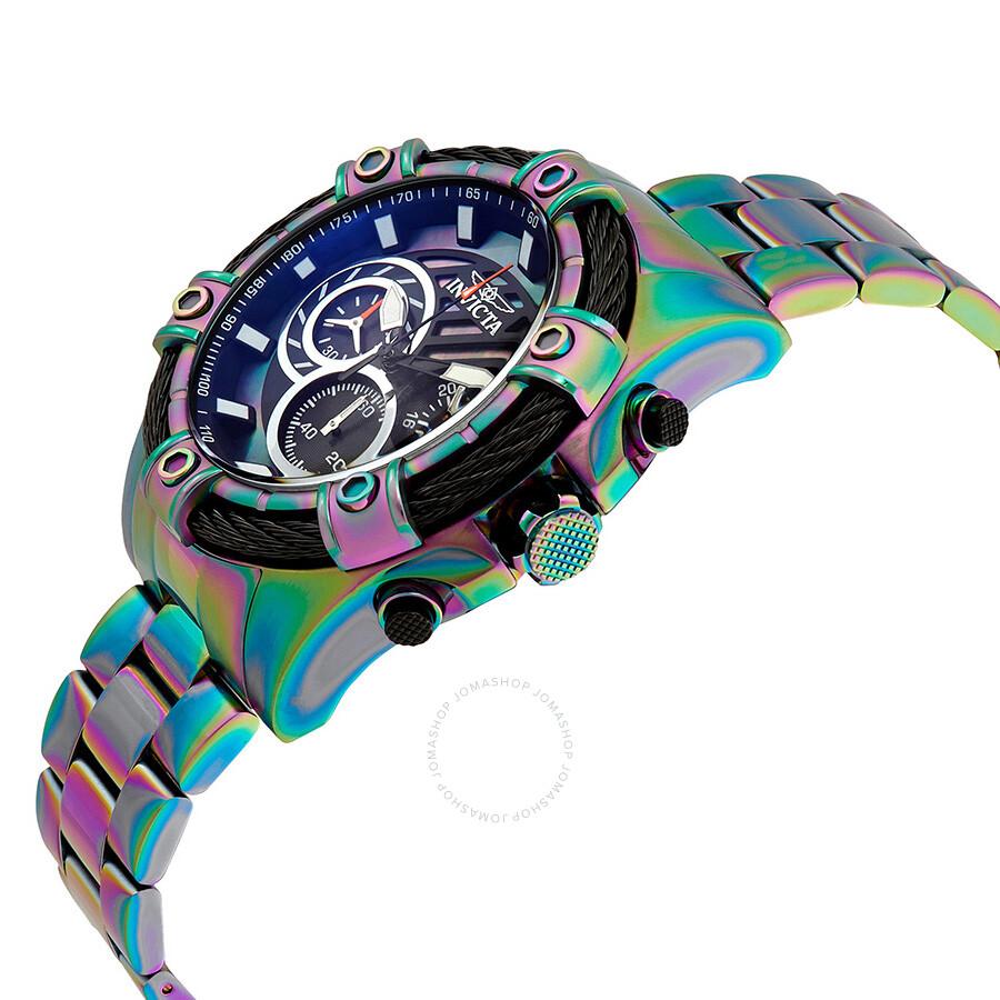 Invicta Bolt Chronograph Black Dial Mens Watch 25521 Small Purple Wire S Lug R