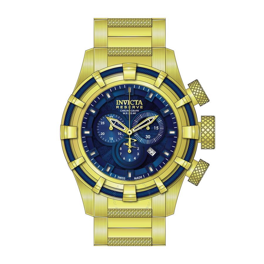 invicta bolt chronograph blue gold plated s