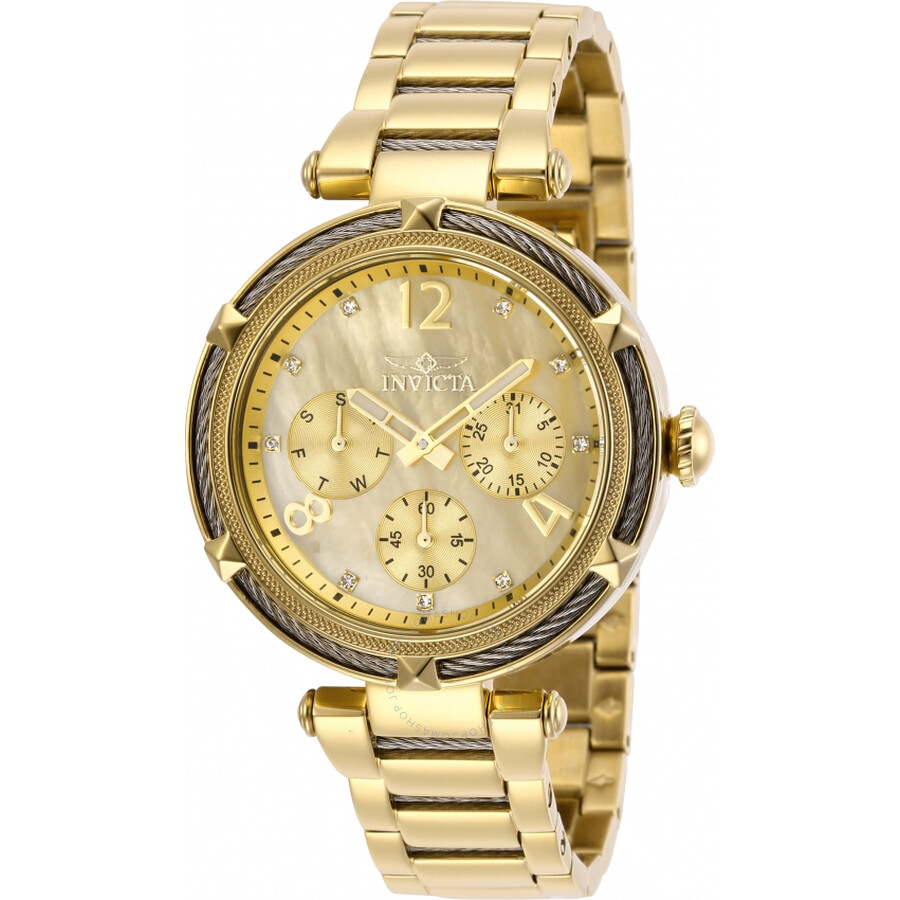 Invicta Bolt Quartz Crystal Gold Dial Ladies Watch 29134