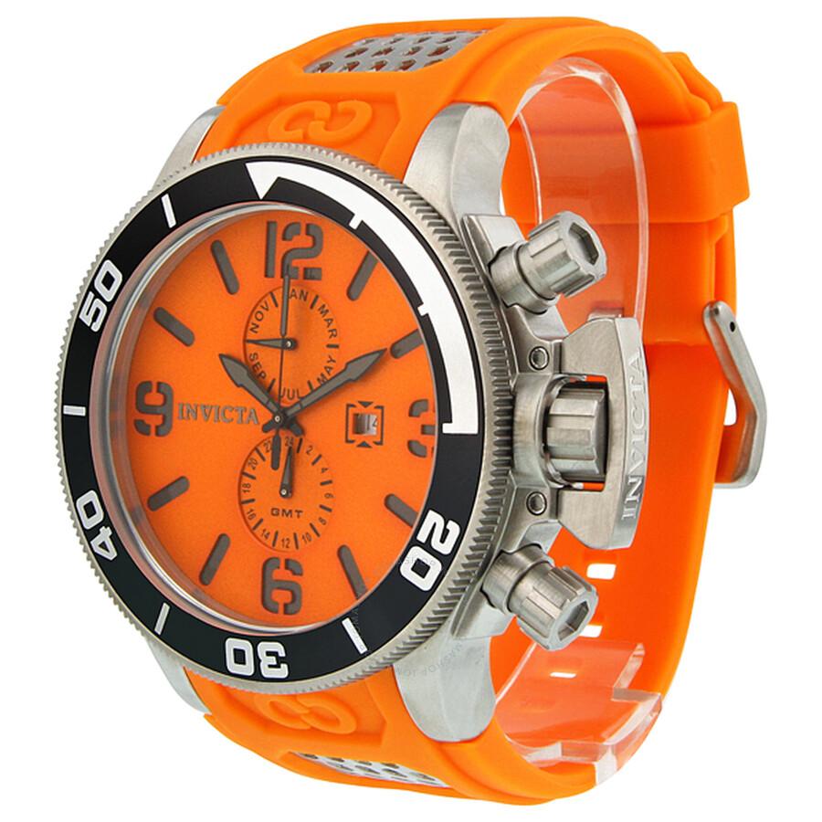 Invicta corduba orange dial orange polyurethane strap men - Orange dive watch ...