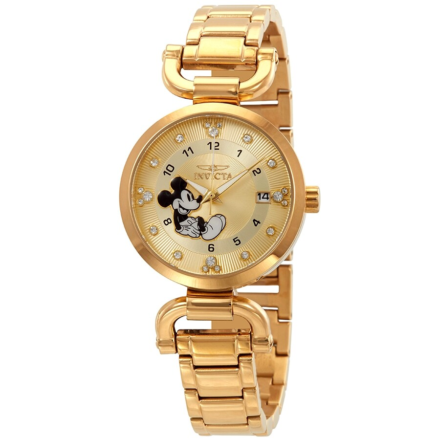 0a8a0486dc5 Invicta Disney Limited Edition Mickey Mouse Crystal Gold Dial Ladies Watch  27291 ...