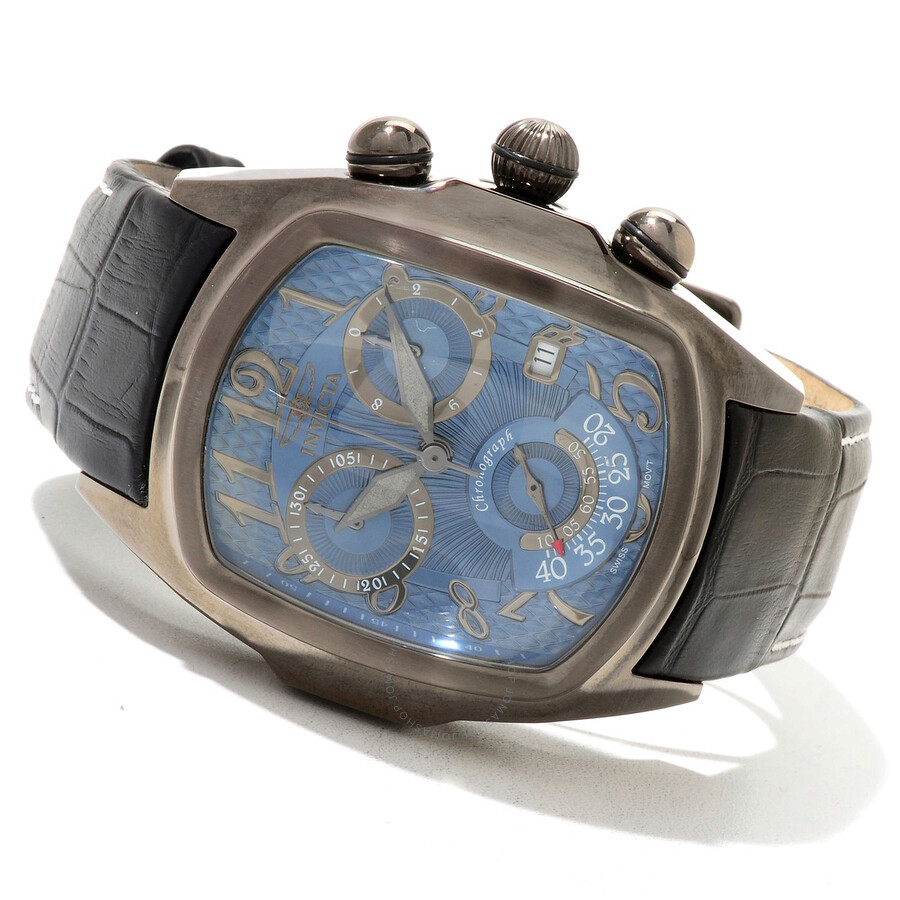 52803d34ae6c Invicta Lupah Chronograph Blue Dial Gunmetal-Tone Stainless Steel Men's  Watch Item No. 13007