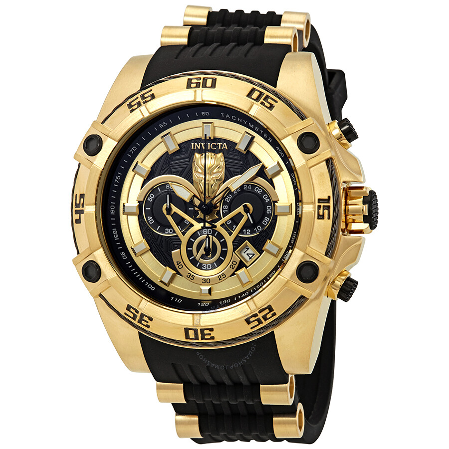 93d51f3a058 Invicta Marvel Chronograph Black Dial Black Silicone Men s Watch 26803 ...
