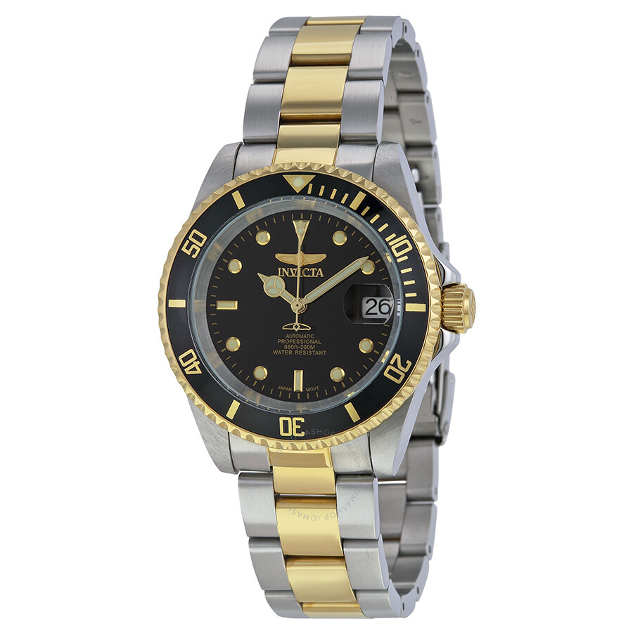 invicta pro diver automatic black two tone s
