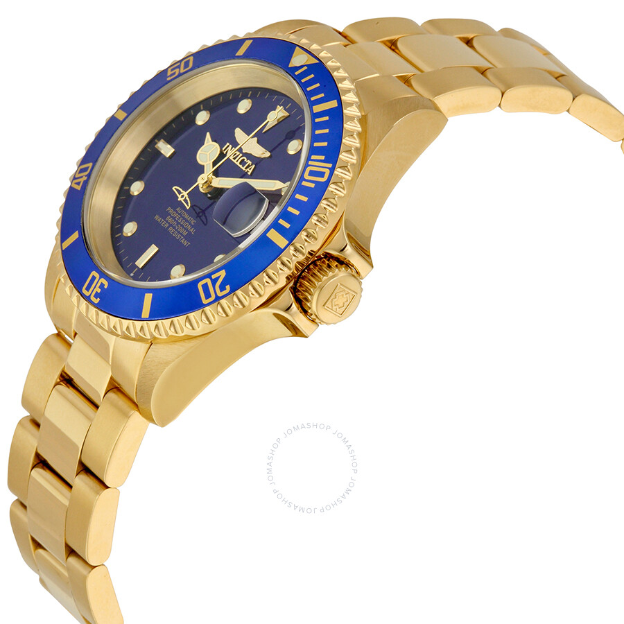 invicta pro diver automatic blue dial goldplated mens