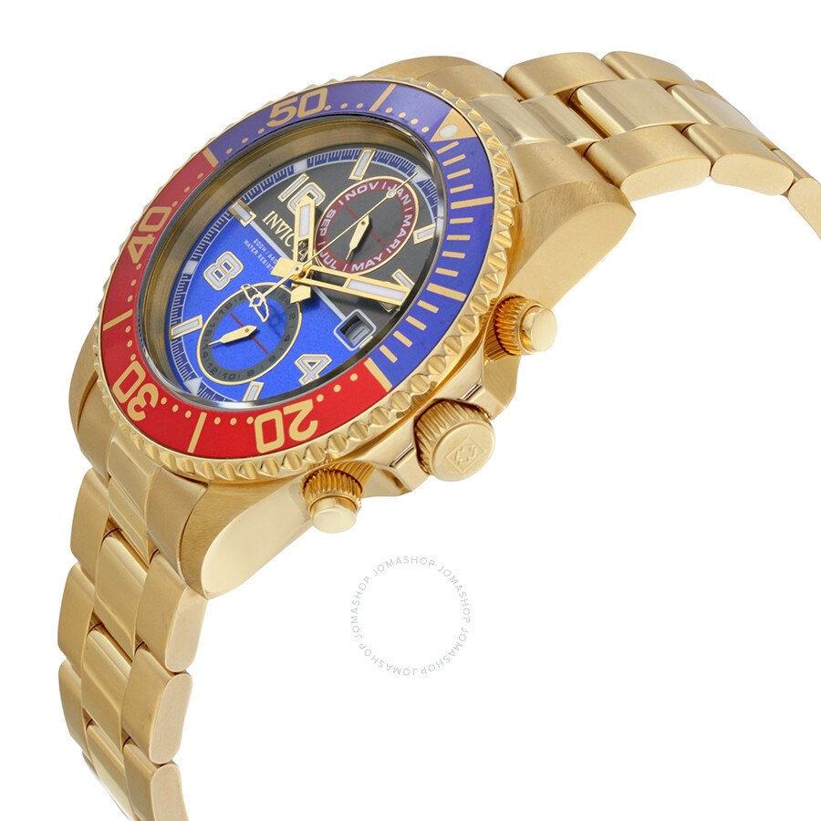 invicta pro diver black and blue 18kt gold plated