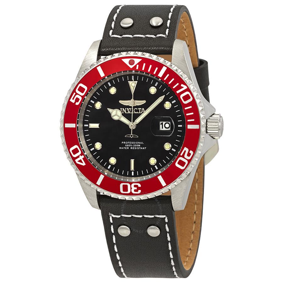 Invicta pro diver black dial red bezel black leather men 39 s watch 22073 pro diver quartz pro for Black bezel watches