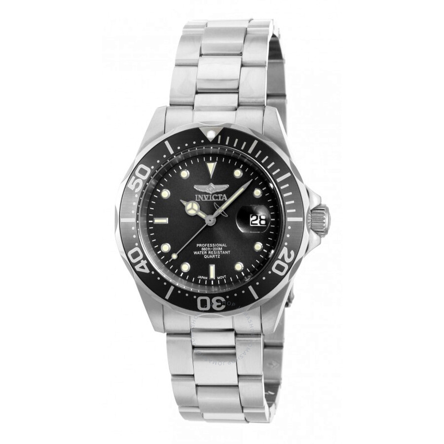 Invicta Pro Diver Black Dial Stainless Steel Mens Watch 14969   Pro