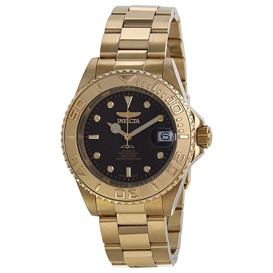 invicta pro diver brown gold ion plated s