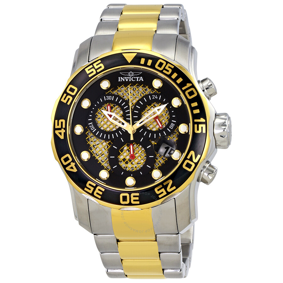 401519729 Invicta Pro Diver Chronograph Black and Gold Dial Men's Watch 19839 ...