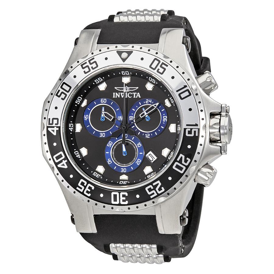 8cad68d49db Invicta Pro Diver Chronograph Black Dial Black Silicone Men s Watch 21830  ...