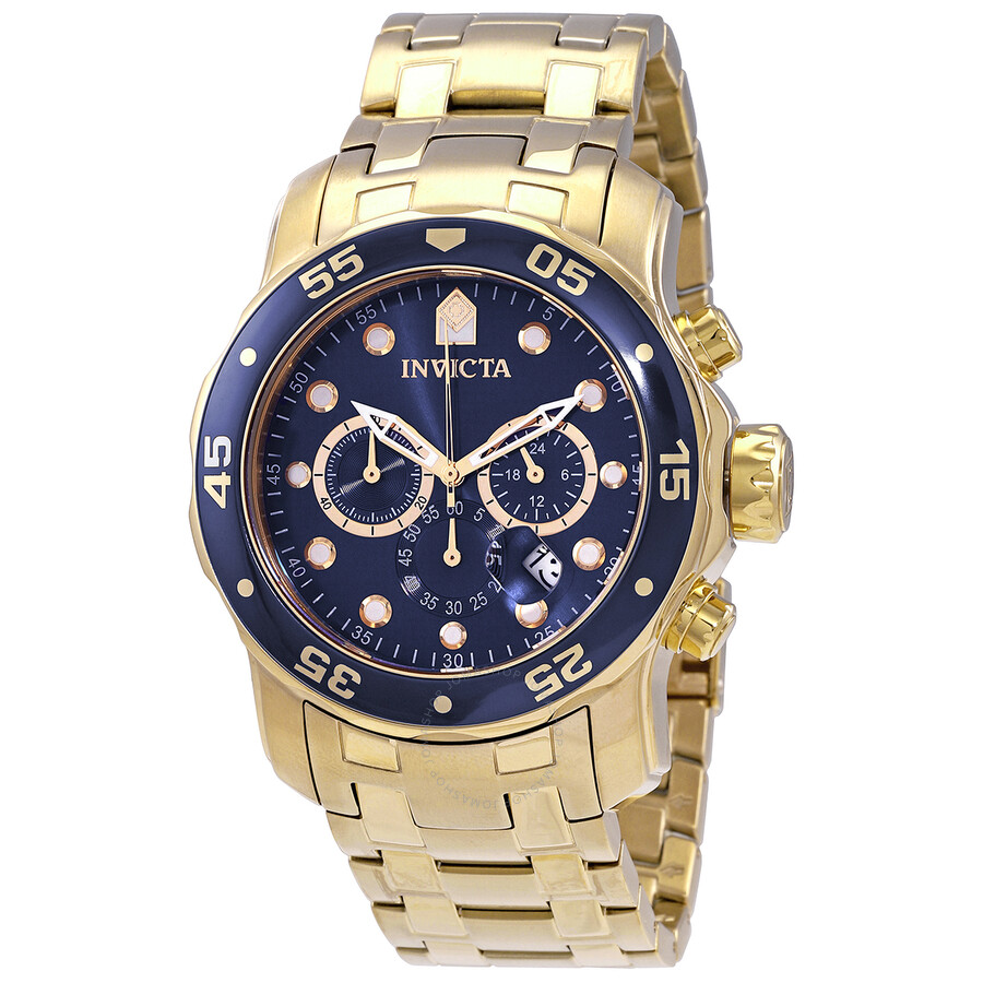 83e7fa328 Invicta Pro Diver Chronograph Blue Dial 18kt Gold-plated Men's Watch 0073  ...