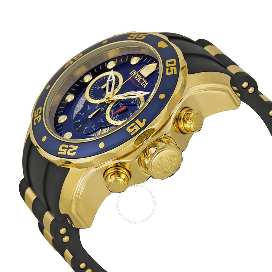 ... Invicta Pro Diver Chronograph Blue Dial Black Rubber Men's Watch 6983  ...