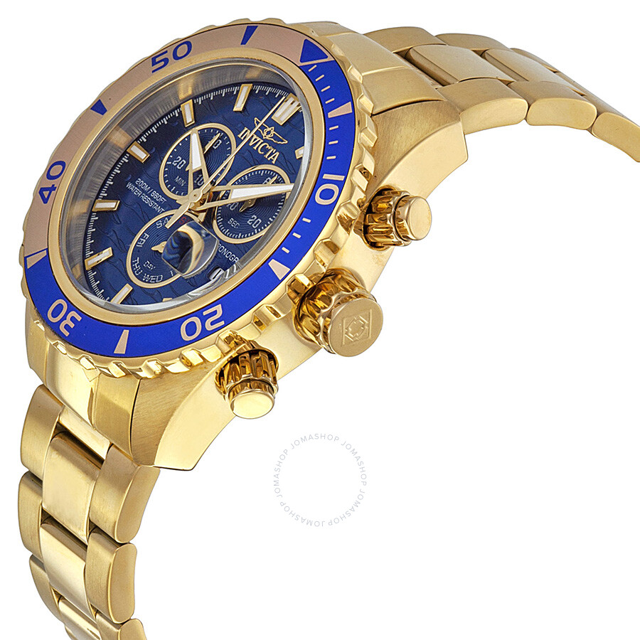 invicta pro diver chronograph blue gold ion plated