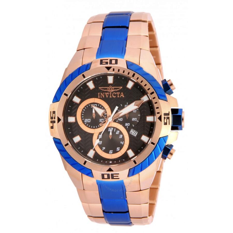 invicta pro diver chronograph brown gold and