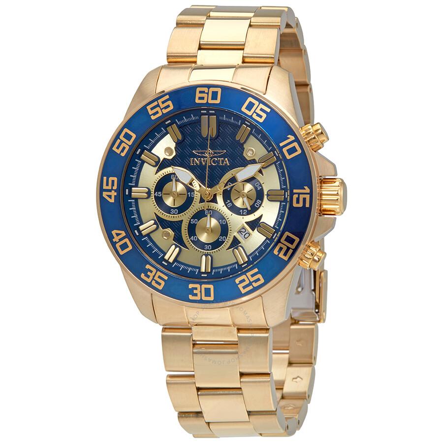 invicta pro diver chronograph gold and blue dail s