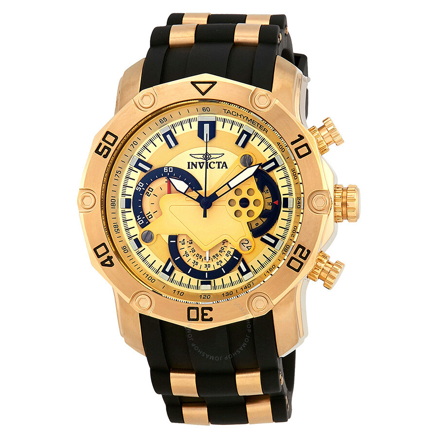 0a19de1defa Invicta Pro Diver Chronograph Gold Dial Men s Watch 23427 - Pro ...