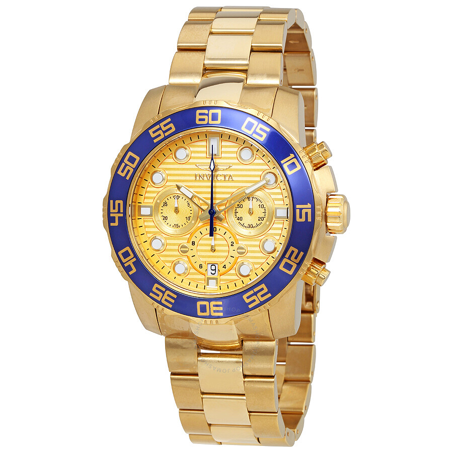invicta pro diver chronograph gold dial mens watch 22227