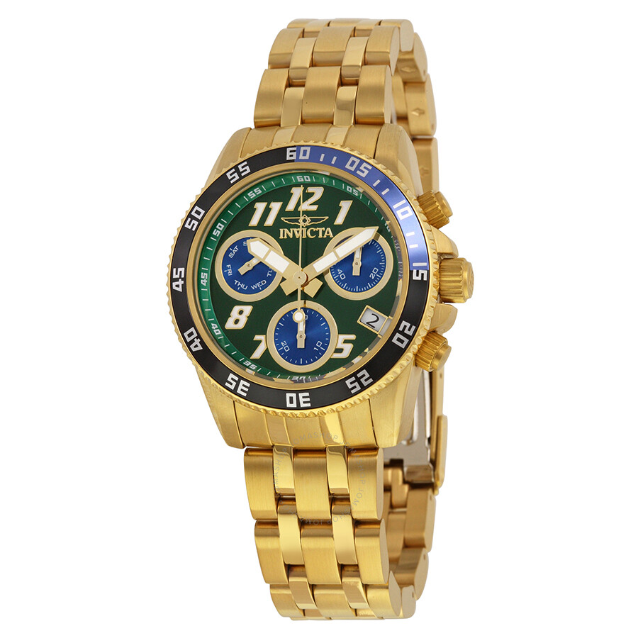 invicta pro diver chronograph green 18kt gold plated
