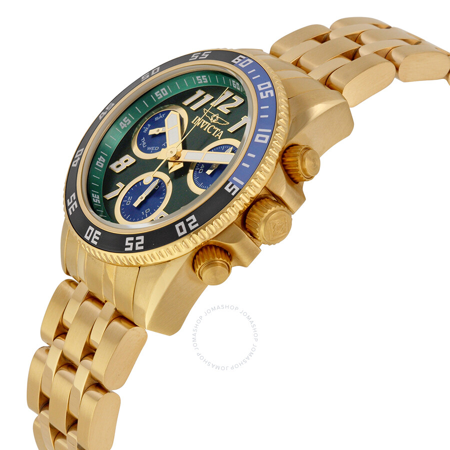 49bcf8587 ... Invicta Pro Diver Chronograph Green Dial 18kt Gold-plated Men's Swiss  Quartz Watch 19194 ...