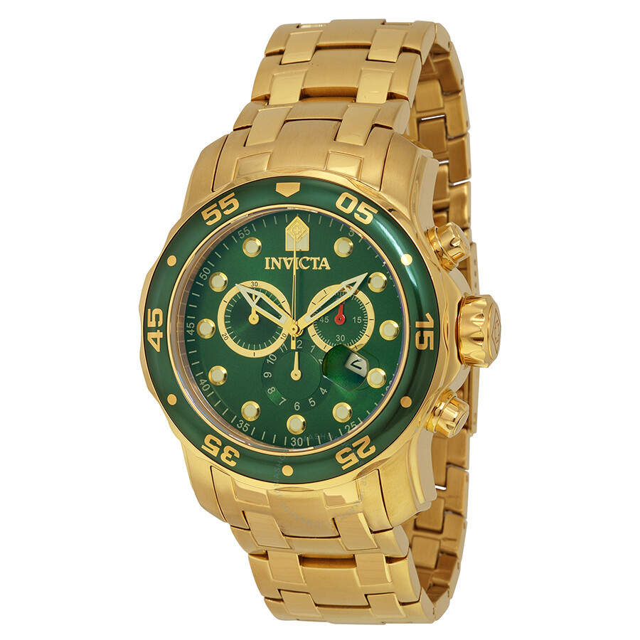 470b81aef9a Invicta Pro Diver Chronograph Green Dial 18kt Gold-plated Men s Watch 0075  ...