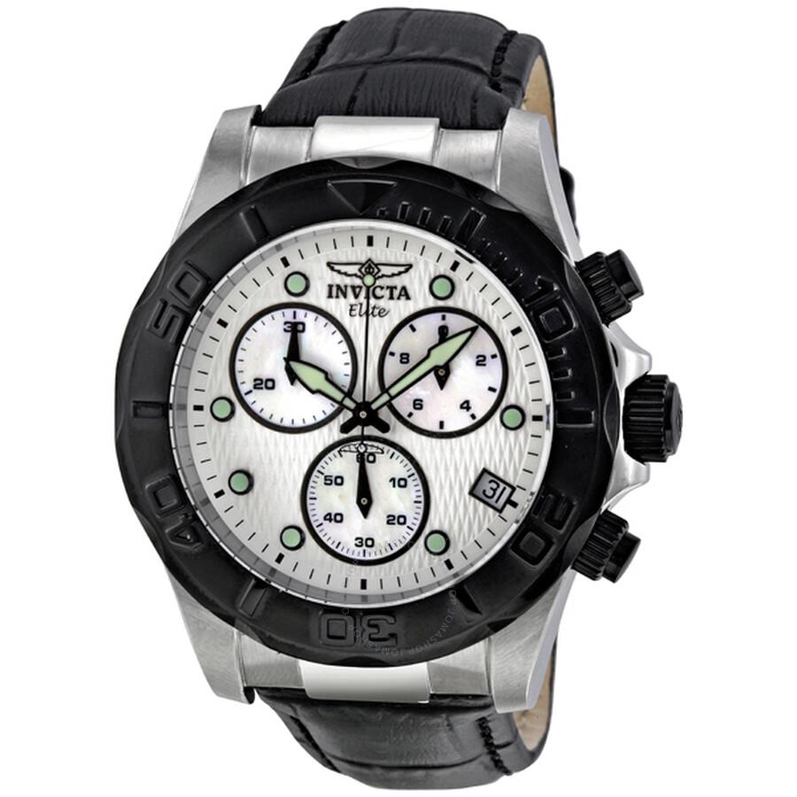 ee454c648 Invicta Pro Diver Elite Chronograph White Dial Black Leather Band Men's  Watch 1720 ...