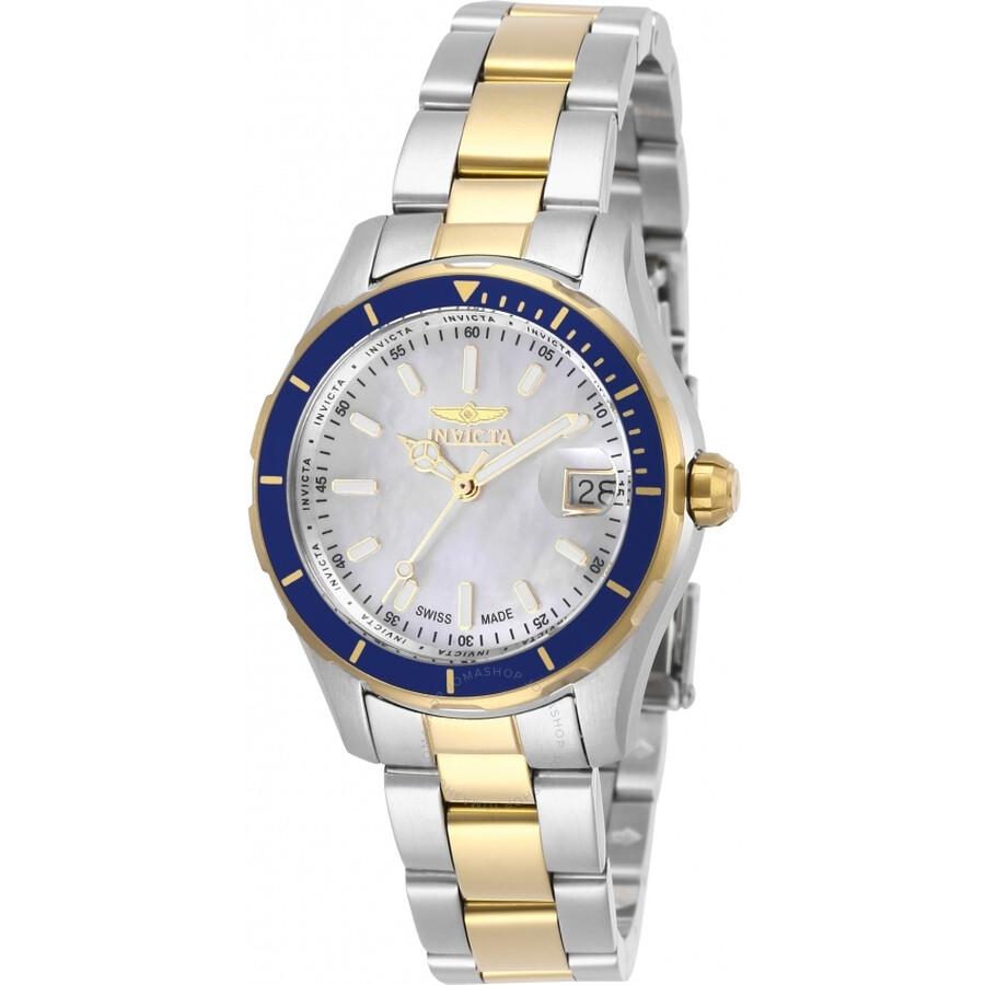 Pro Diver Quartz White Mother of Pearl Dial Ladies Watch 28648