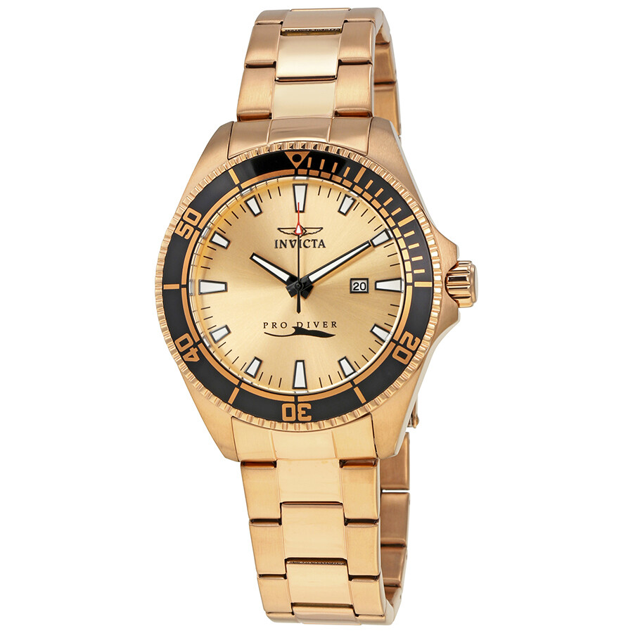invicta pro diver rose goldtone mens watch 15185 pro
