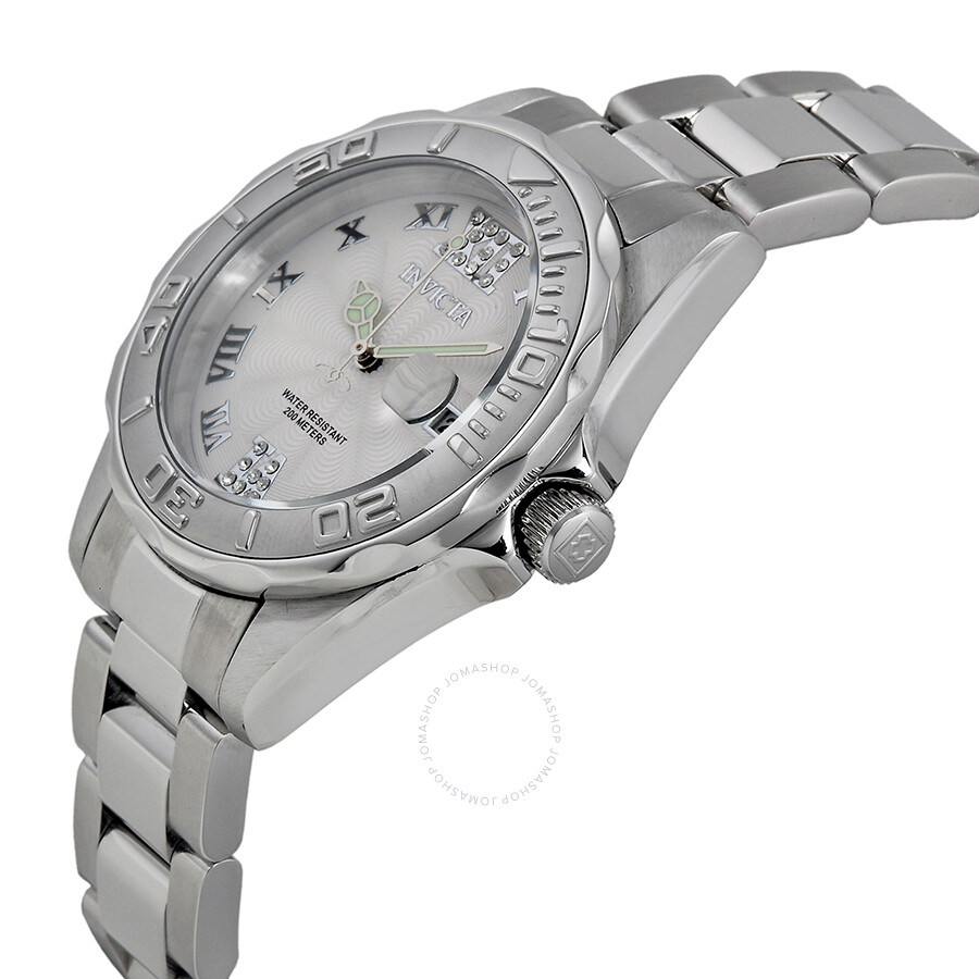 invicta pro diver white stainless steel