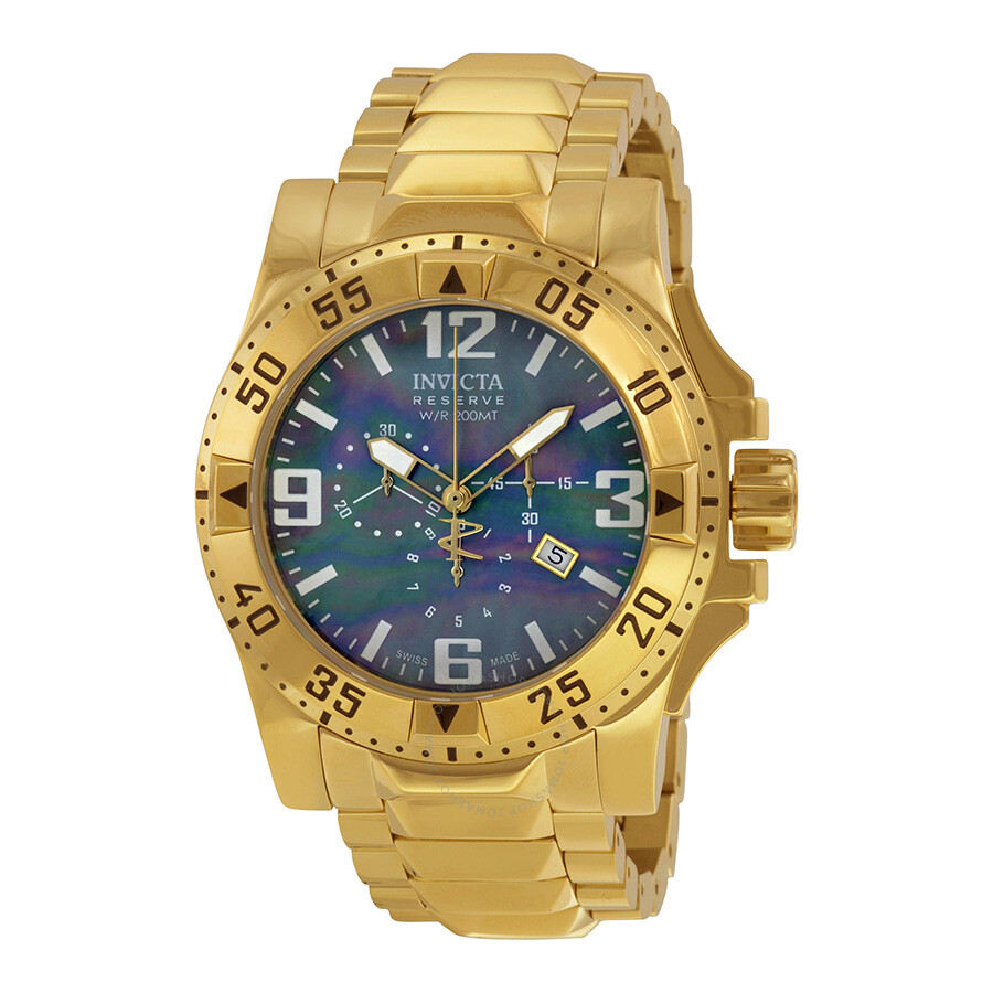 invicta reserve chronograph 18kt goldplated mens watch