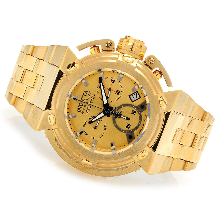 invicta reserve chronograph gold gold plated s