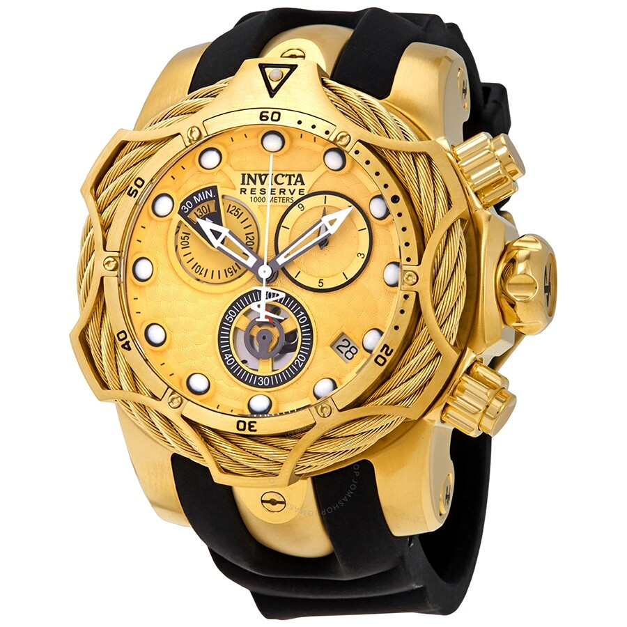 c8f02782f Invicta Reserve Gold Chronograph Dial Men s Rubber Watch 27708 ...