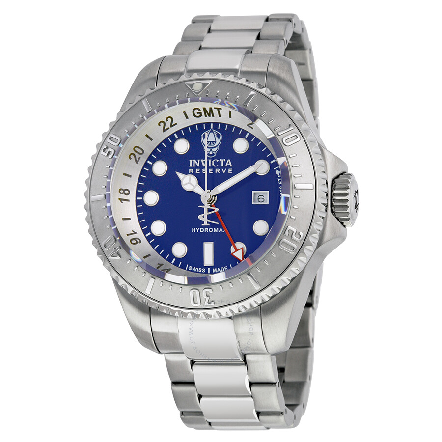 invicta reserve hydromax gmt blue stainless steel