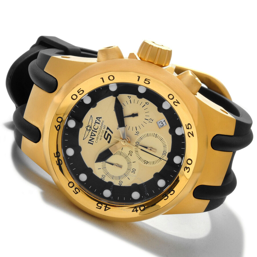 invicta s1 aviation chronograph black and gold black