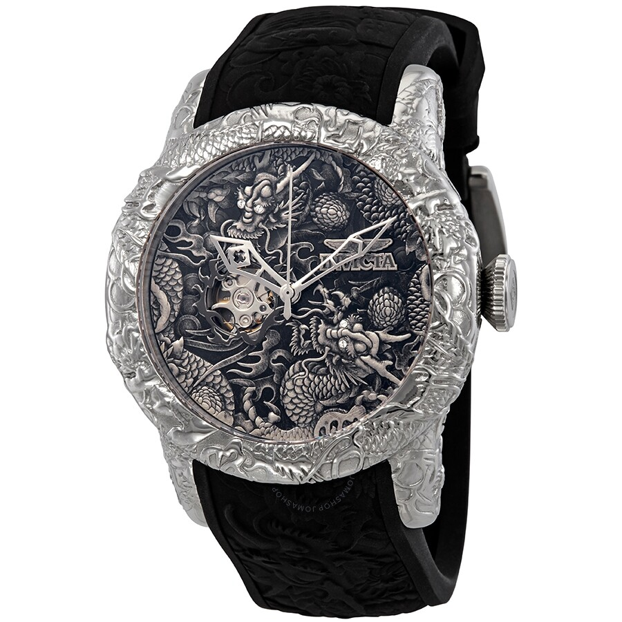 20719b610 Invicta S1 Rally Dragon Automatic Black Dial Black Silicone Men's Watch  25080 ...
