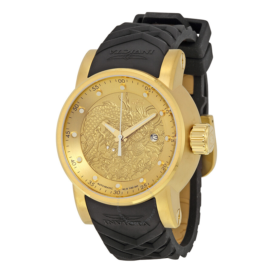 invicta s1 rally gold black silicone s