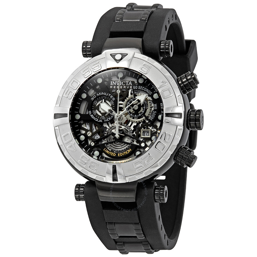 b2e32d89d Invicta Men's 1091 Russian Diver Stainless Steel and Black Polyurethane  Watch with Skeleton Window