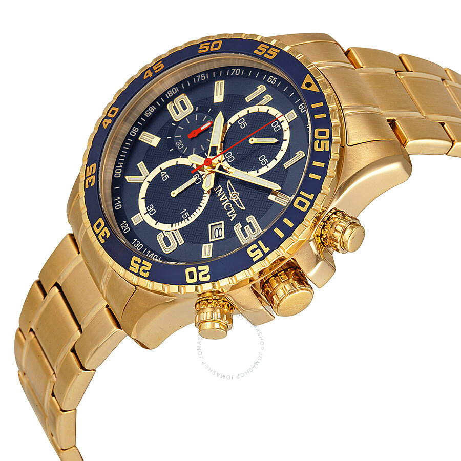 invicta specialty chronograph blue 18kt gold ion