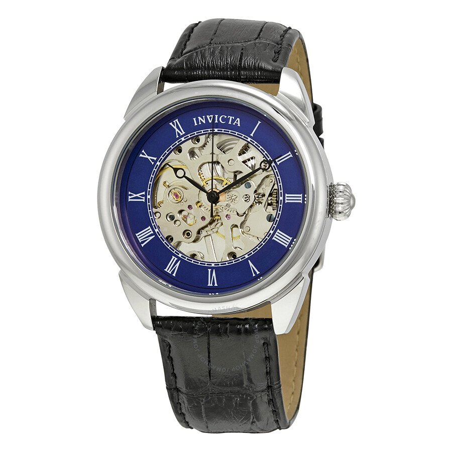 invicta specialty mechanical blue skeleton men s watch 23534