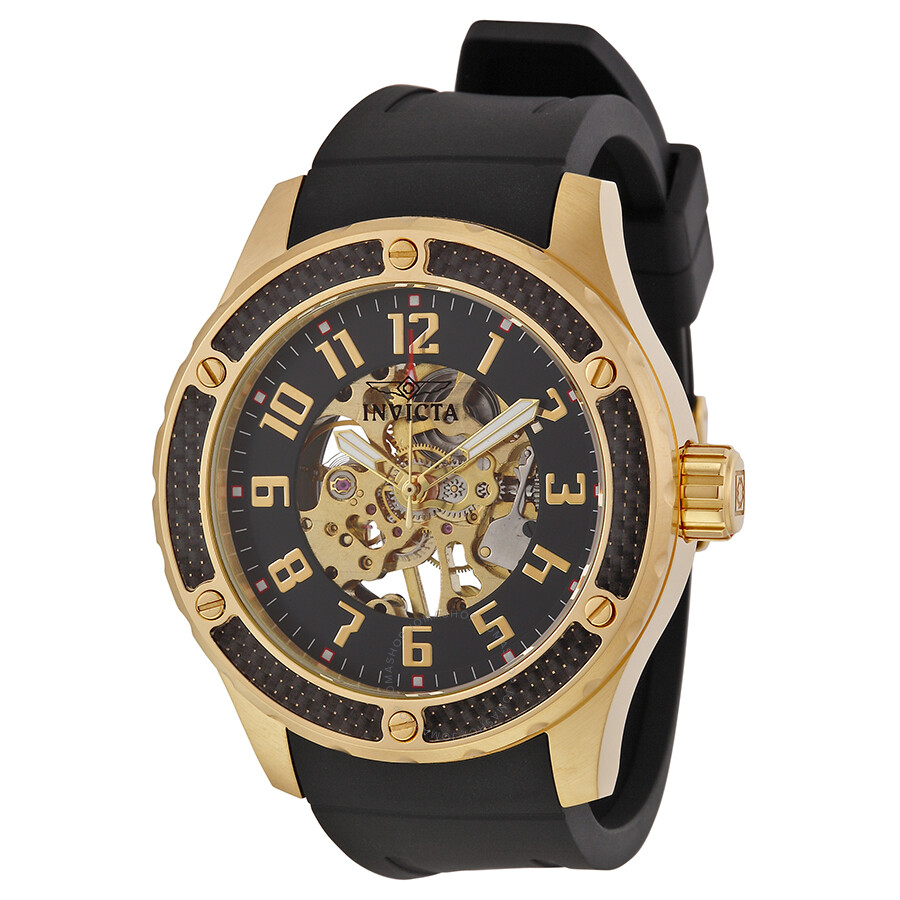 invicta specialty mechanical skeleton black silicone