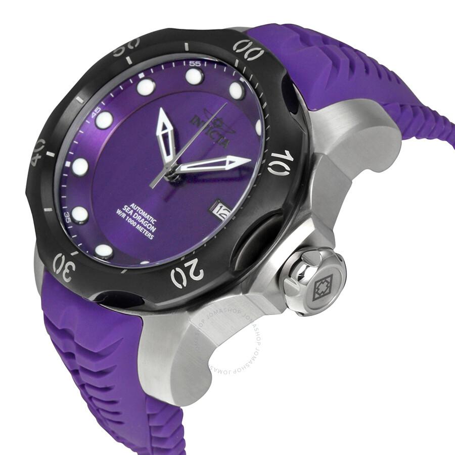 Invicta venom automatic purple dial purple silicone strap men 39 s watch 19306 venom invicta for Violet leather strap watch