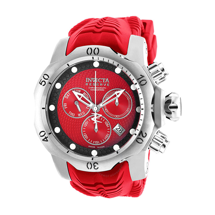 aa3fa1f0d766 Invicta Venom Red Dial Men s Red Leather Chronograph Watch Item No. 19009