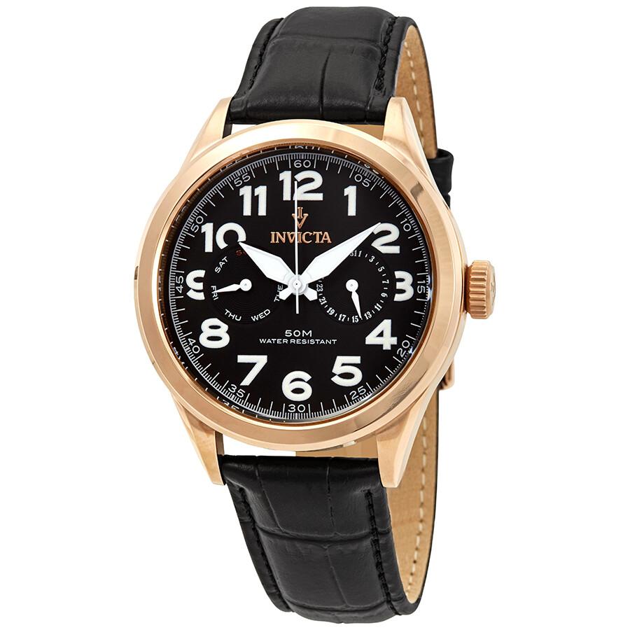 935f642bc64 Invicta Vintage Black Dial Black Leather Men s Watch 11742 - Vintage ...