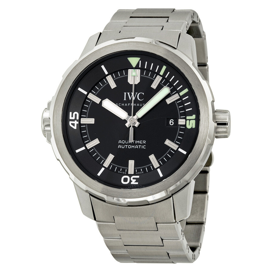 iwc aquatimer black stainless steel s