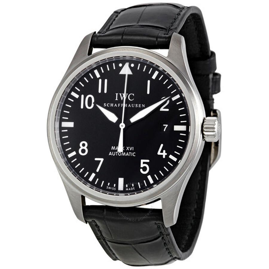 IWC Classic Pilot Mark XVI Steel Black Men's Watch 3255-01 ...