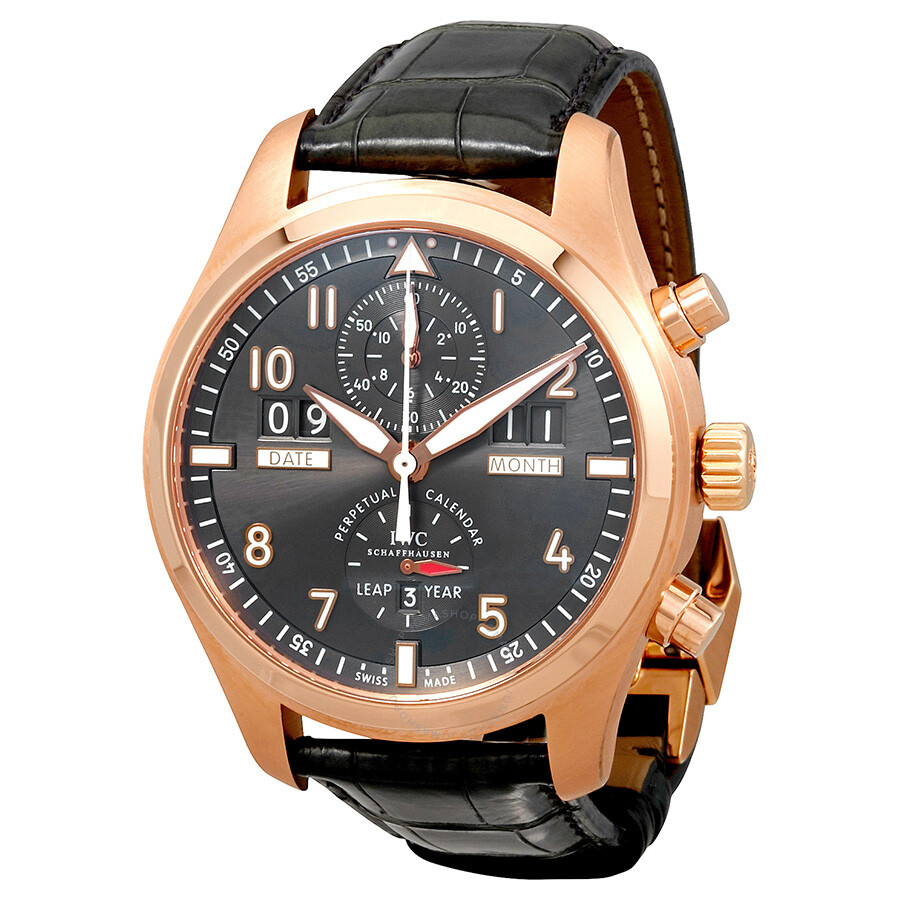 iwc pilot spitfire grey 18kt gold brown leather