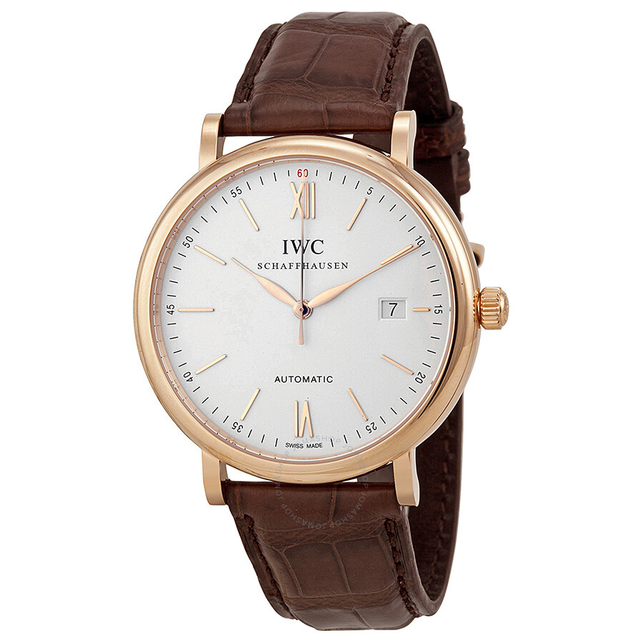 iwc portofino silver 18kt gold brown